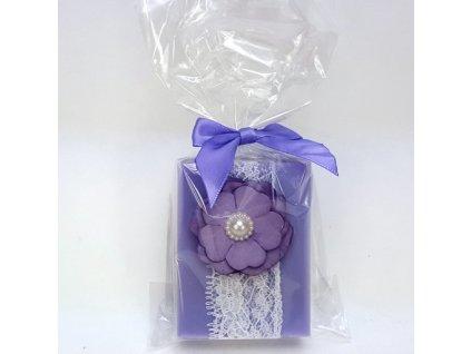 Přírodní mýdlo 100g zdobené stuhou a kytičkou s perlou v celofánu