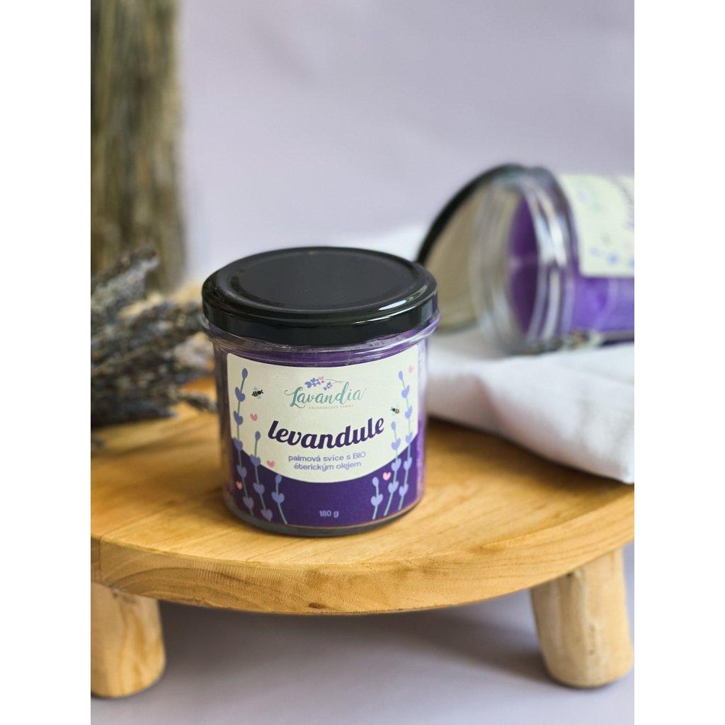 Levandulová svíčka s BIO levandulovým olejem