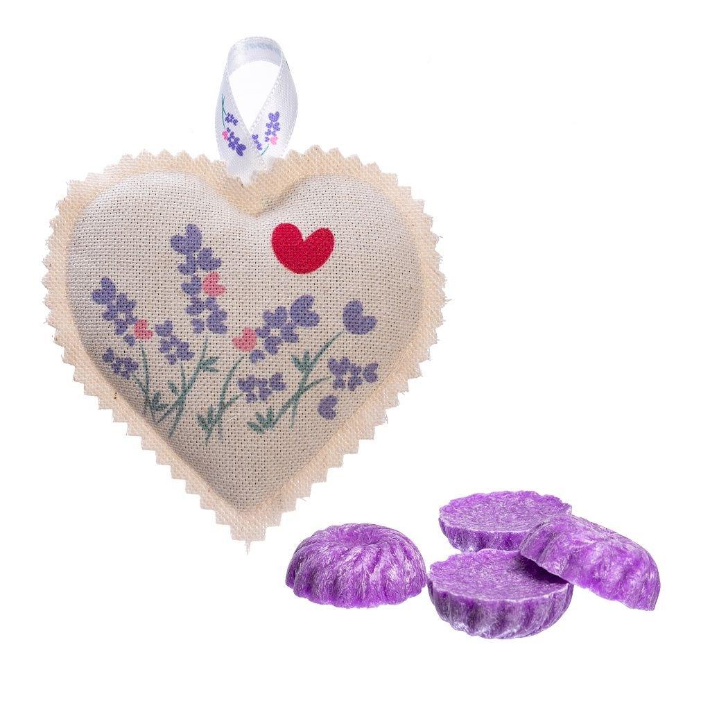 Vosk levandule a závěsné levandulové srdíčko Lavandia