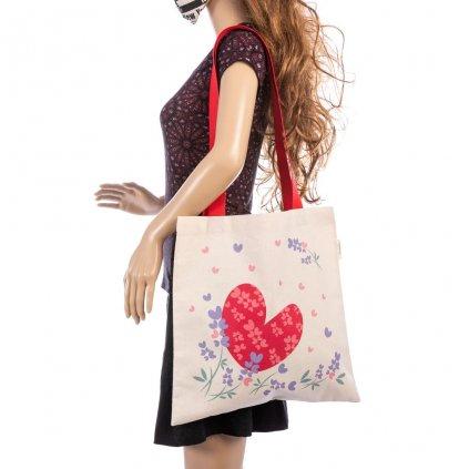 Plátěná taška Srdcovka