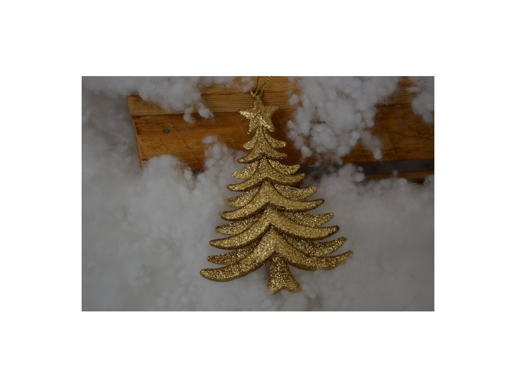 CERINO Ozdoba vánoční stromek 13,5cm zlatý