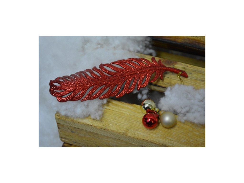 CERINO Ozdoba vánoční pírko 19cm červené