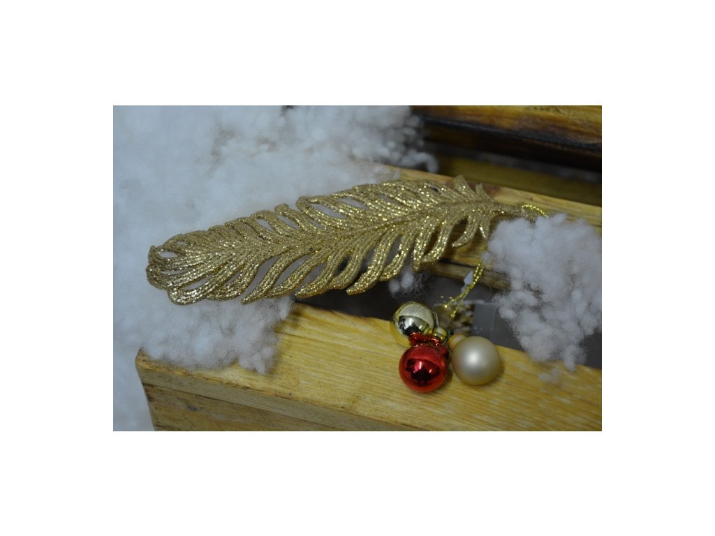 CERINO Ozdoba vánoční pírko 19cm zlaté
