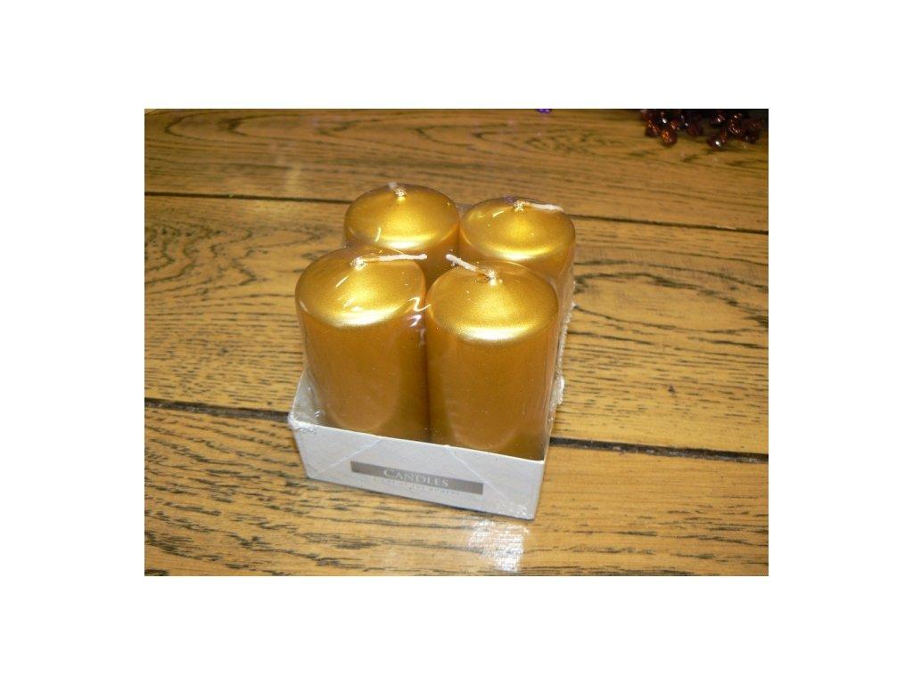 CERINO Svíčka adventní 4ks vysoká 7,5cm zlatá