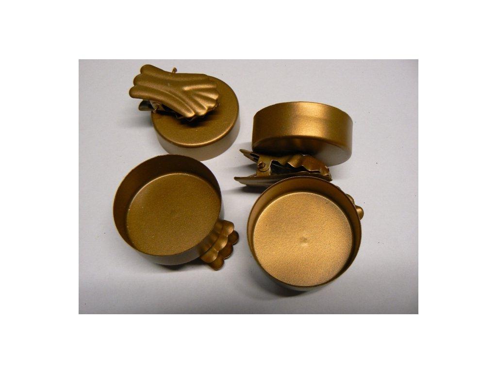 CERINO Skřipec na svíčku, sada 4ks, průměr 4,2cm zlatý