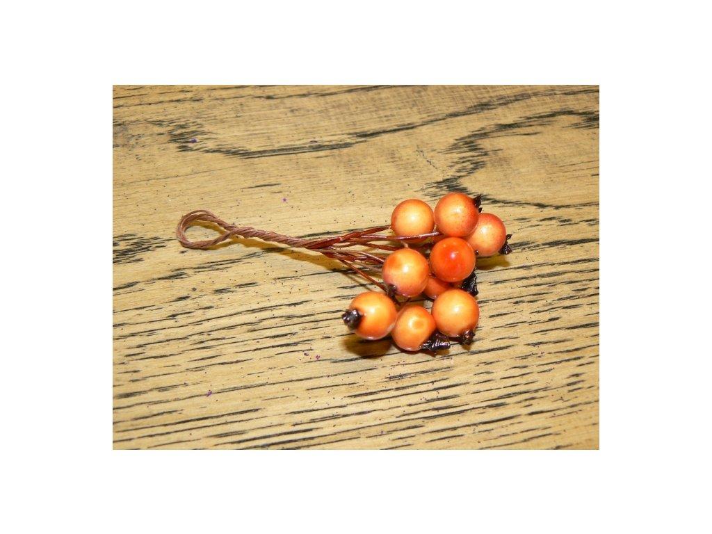CERINO Umělá větvička dekorační bobule svazek 8cm oranžové