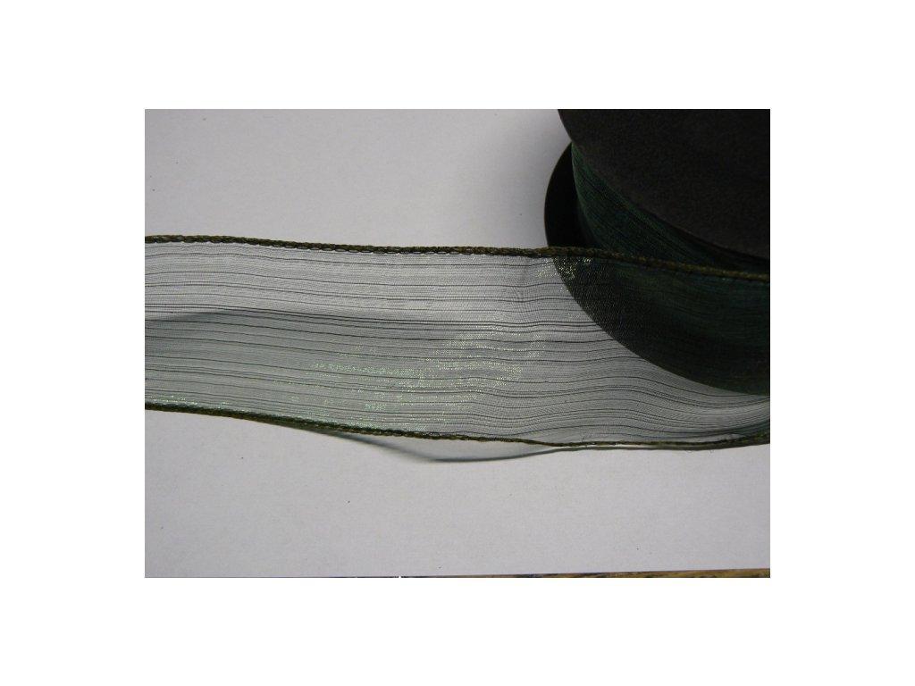 CERINO Aranžovací stuha s drátkem šíře 4cm zelená tm. 2m
