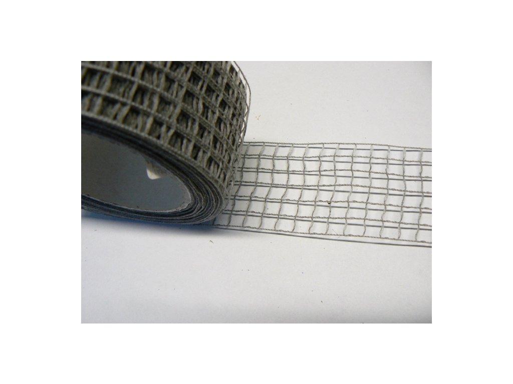 CERINO Aranžovací stuha mřížka šíře 5cm šedá 1m