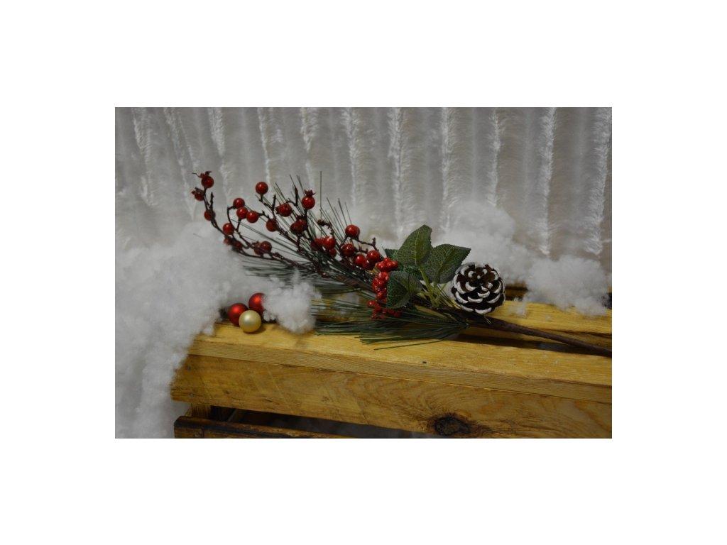 CERINO Borová větvička červené bobule 60cm