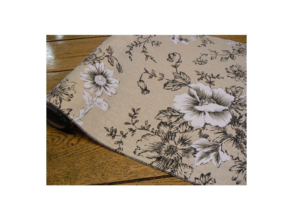 CERINO Běhoun na stůl květ 48 x 223cm černá
