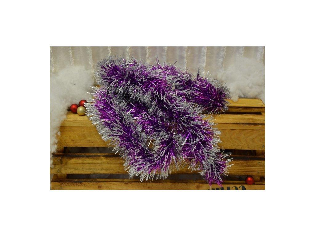 CERINO Vánoční řetěz 2m fialový třpitivý