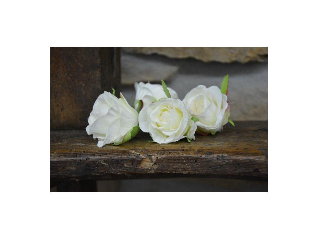 CERINO Umělá květina Květ růže aranžovací 5cm bílá