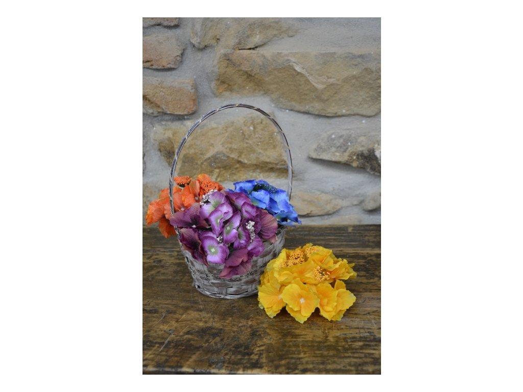 CERINO Umělá květina HORTENZIE trs aranžovací 15cm žlutý 1ks