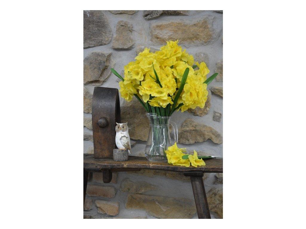 CERINO Umělá květina Narcis 40cm dva listy