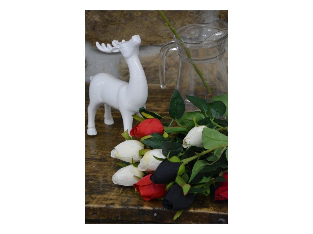 CERINO Umělá květina Růže 66cm bílá 1ks
