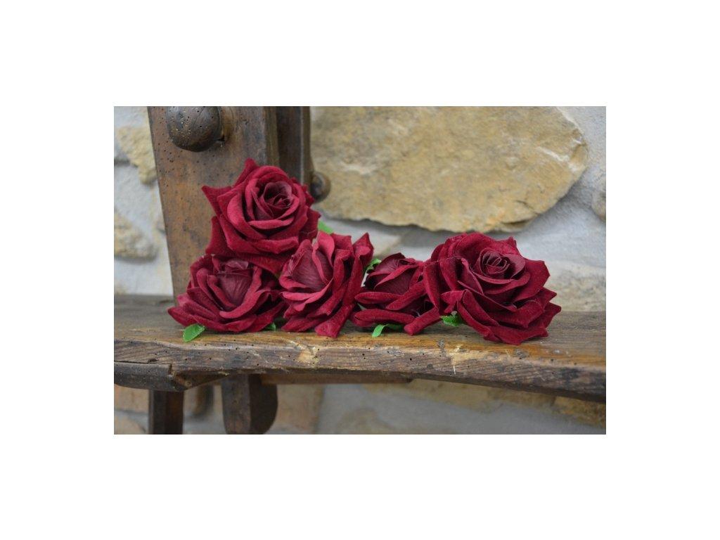 CERINO Umělá květina Květ růže aranžovací 10cm červený