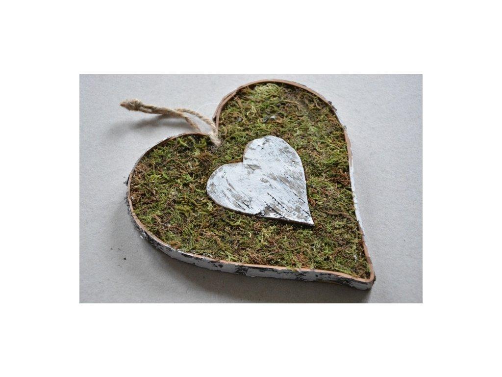 CERINO Mechové srdce 20cm bílá bříza zelený mech