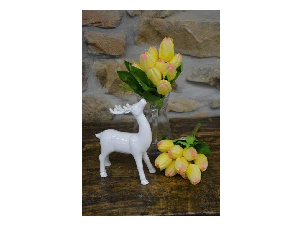 CERINO Umělá květina Tulipán kytice 35cm 9květů žluté 1ks