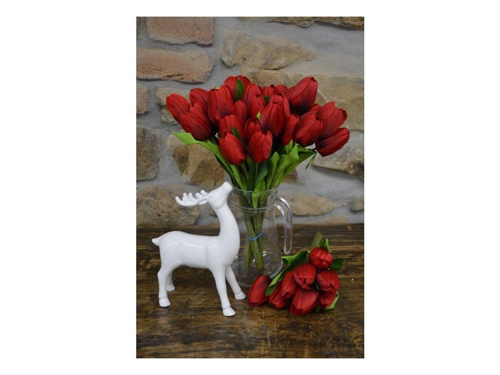 CERINO Umělá květina Tulipán kytice 35cm 9 květů červené 1ks