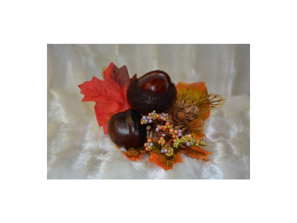 CERINO Podzimní větvička kaštan 25cm