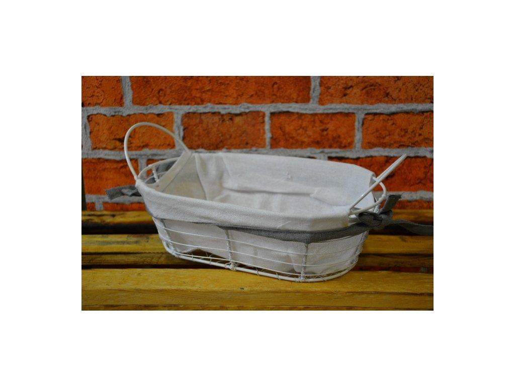 Cerino košík kovový polstrovaný - bílý