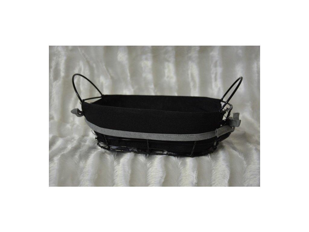 Cerino košík kovový polstrovaný - černý