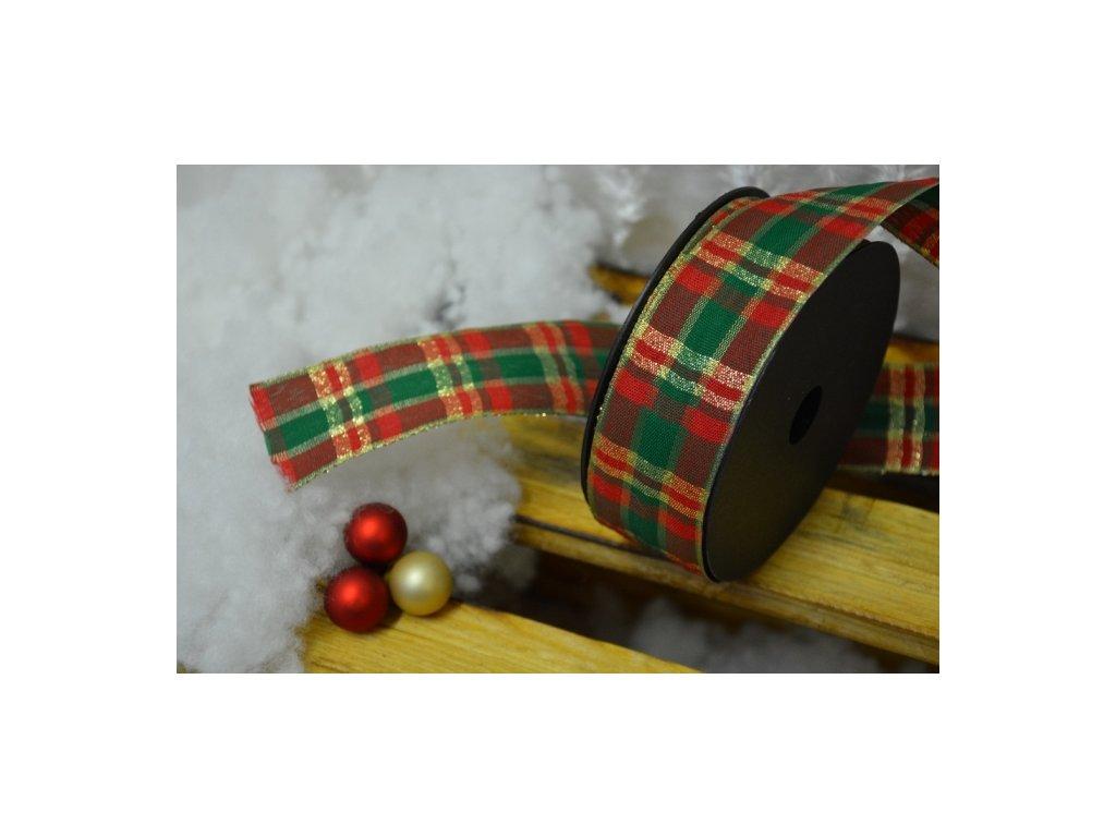 CERINO Aranžovací stuha vánoční 4cm x 1m zlatá mřížka