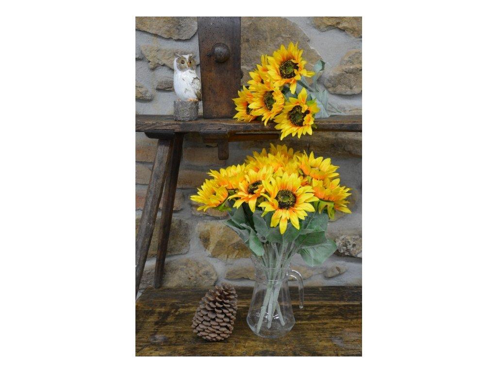 CERINO Umělá květina Slunečnice 50cm, puget 5 květů