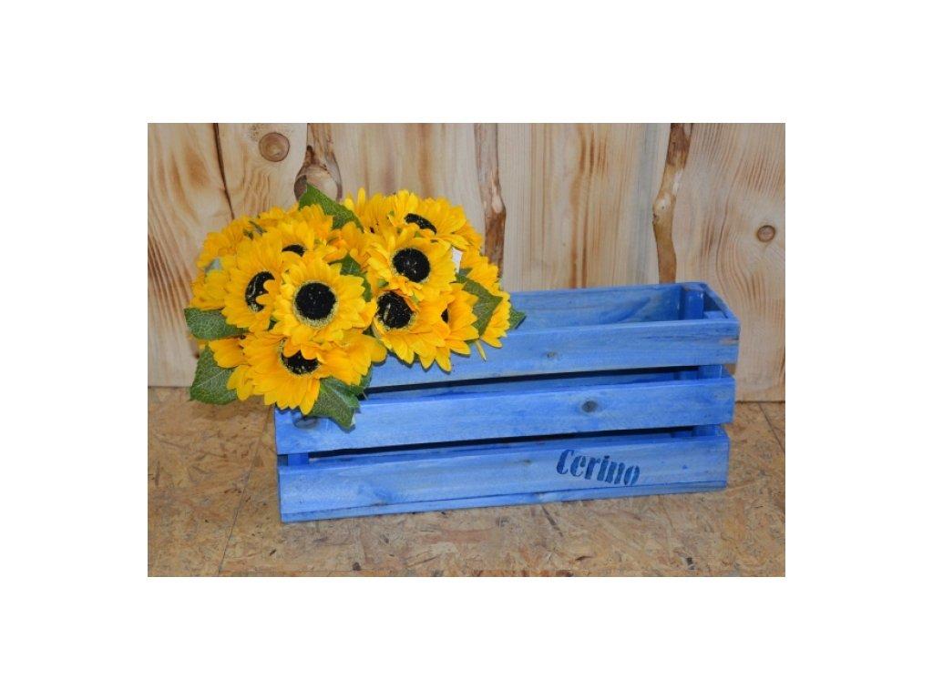 CERINO Dřevěná bedýnka 50x13x20 modrá