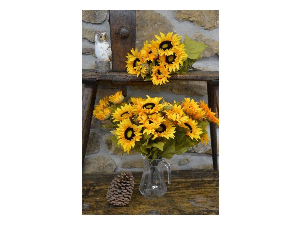 CERINO Umělá květina Slunečnice 50cm, puget 9 květů