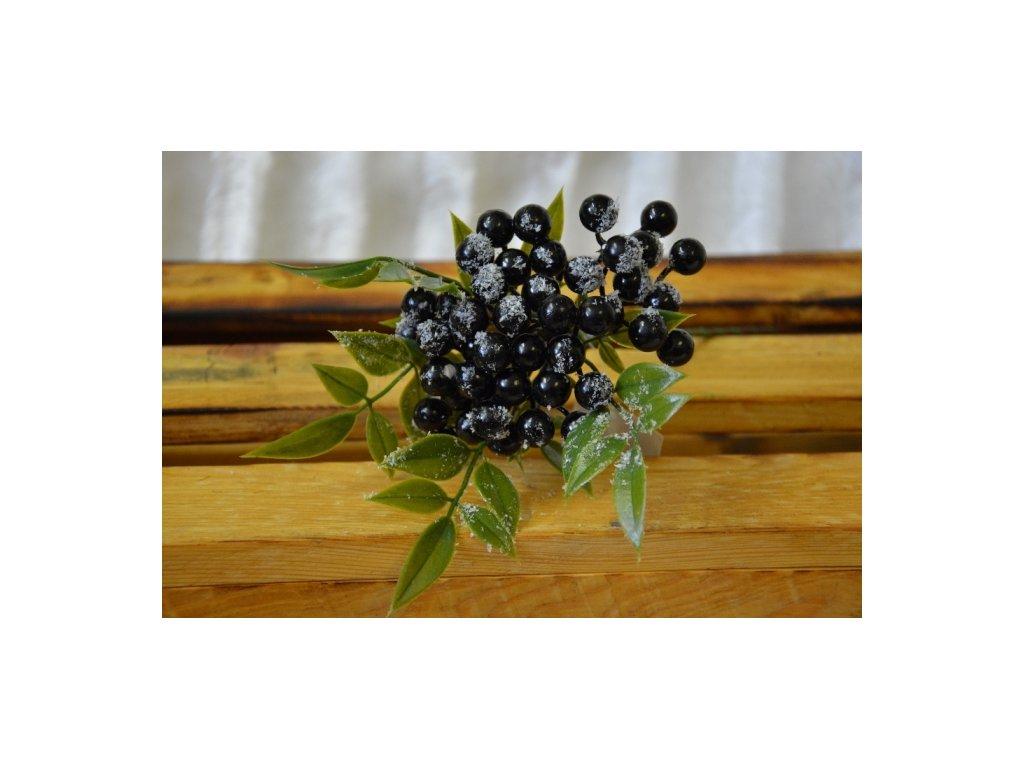 CERINO Umělá větvička dekorační bobule 30cm černé