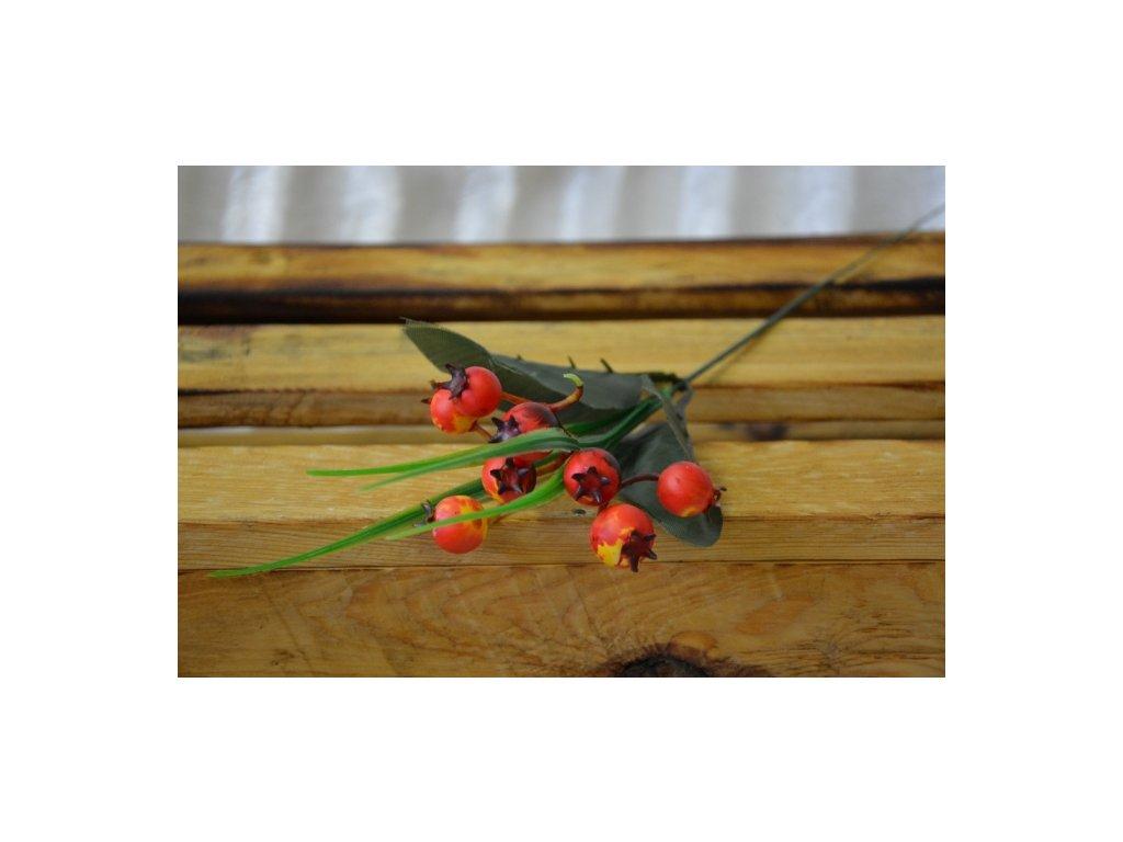 CERINO Umělá větvička bobule 35cm červenožluté