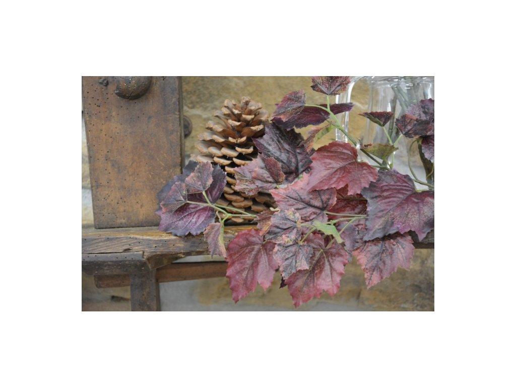CERINO Umělá větvička platanu 70cm vínová - vysoká kvalita