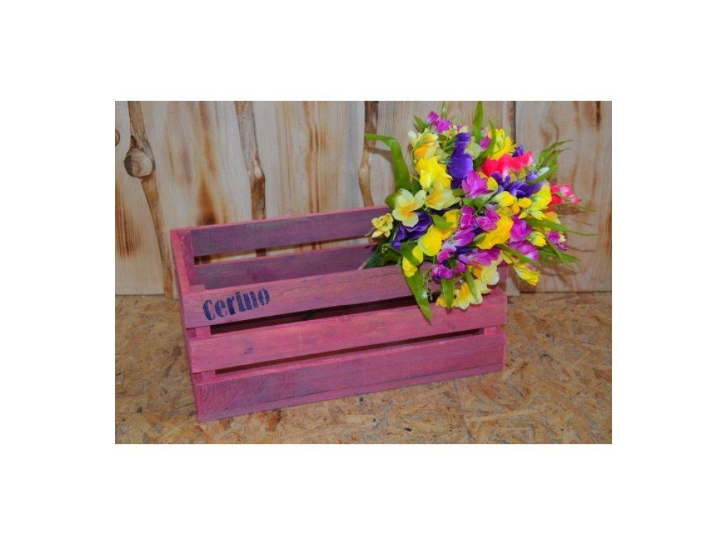 CERINO Dřevěná bedýnka 50x30x20 fialová