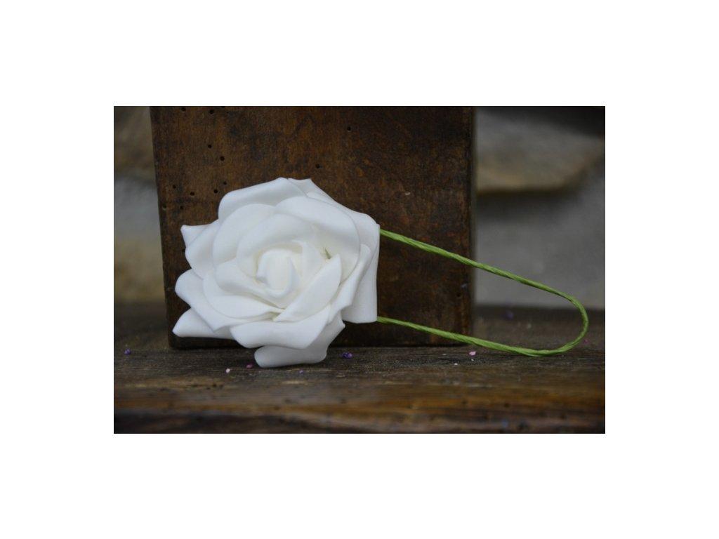 CERINO Pěnová růžička s drátkem 6cm průměr, bílá