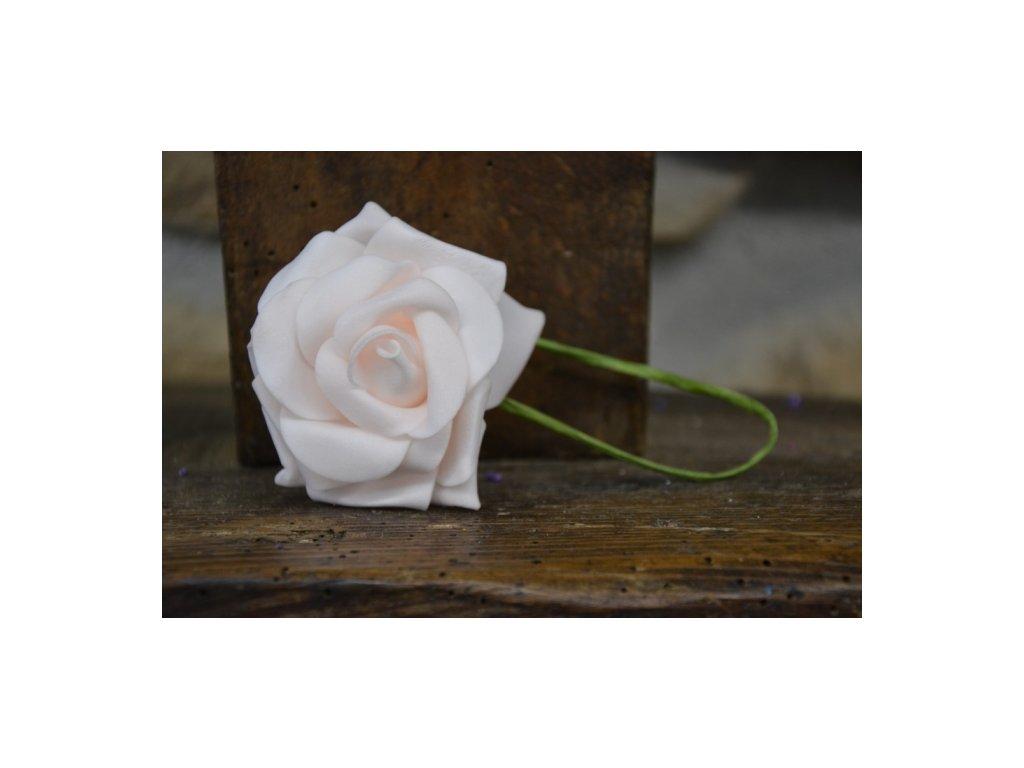 CERINO Pěnová růžička s drátkem 6cm průměr, světlerůžová