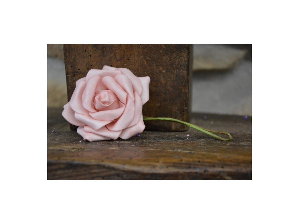 CERINO Pěnová růžička s drátkem 5cm průměr, starorůžová