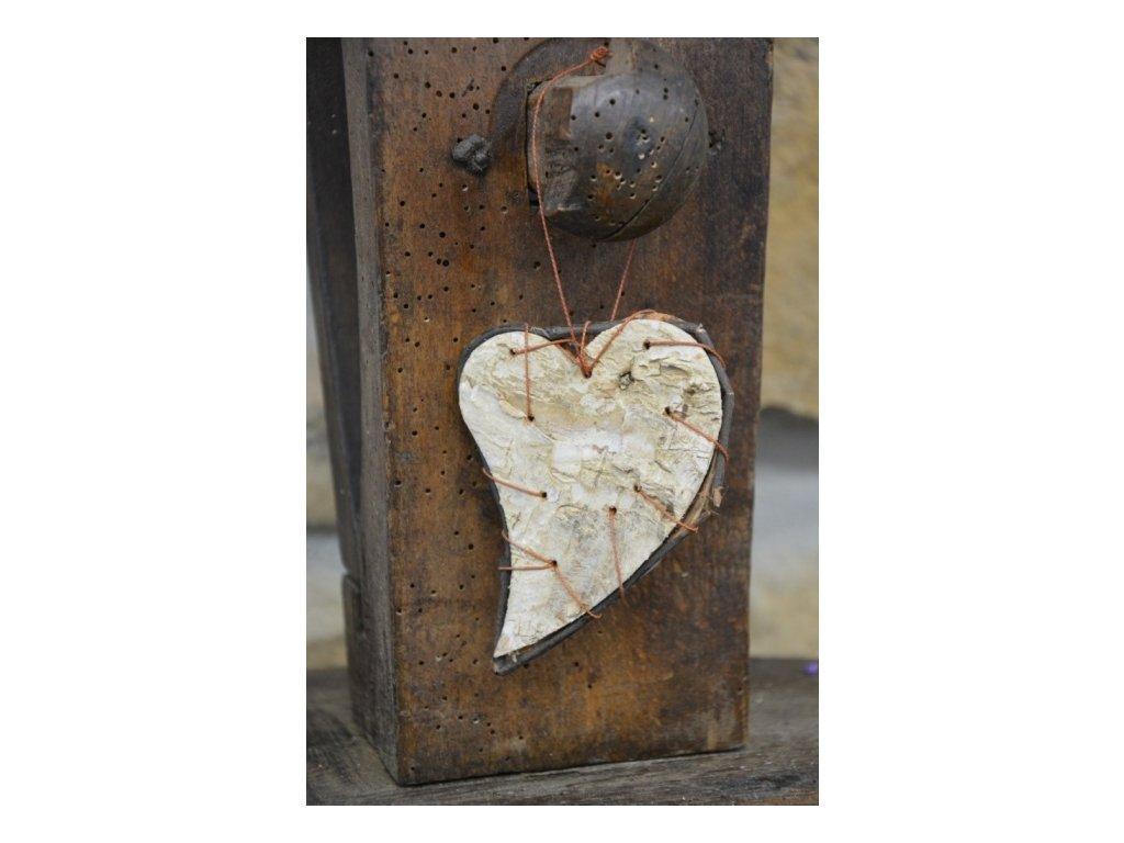CERINO Dekorační srdce bříza 10cm x 7cm