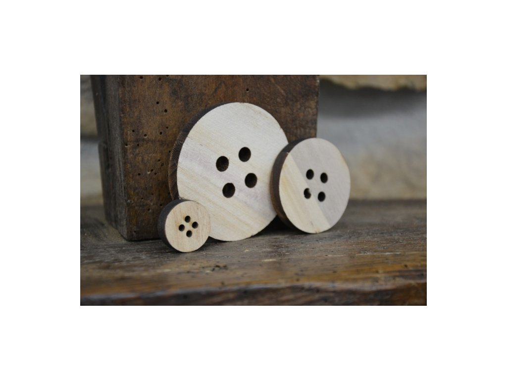 CERINO Dekorační knoflík dřevěný 7cm průměr, přírodní