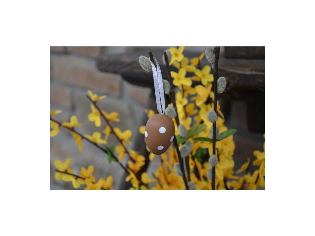 CERINO Závěsné velikonoční vajíčko 4cm, hnědé s puntíkem V.