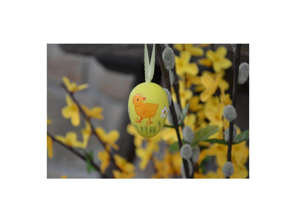 CERINO Závěsné velikonoční vajíčko 4cm, žluté s kuřátkem