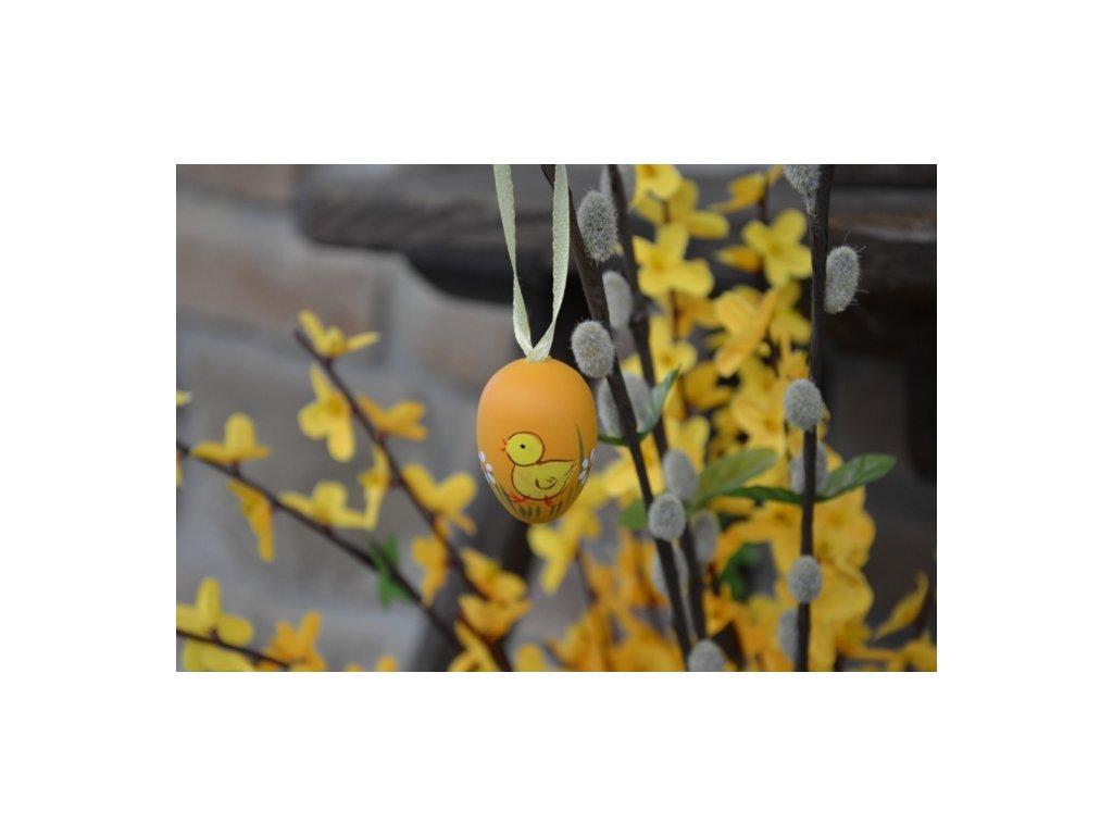 CERINO Závěsné velikonoční vajíčko 4cm, oranžové s kuřátkem