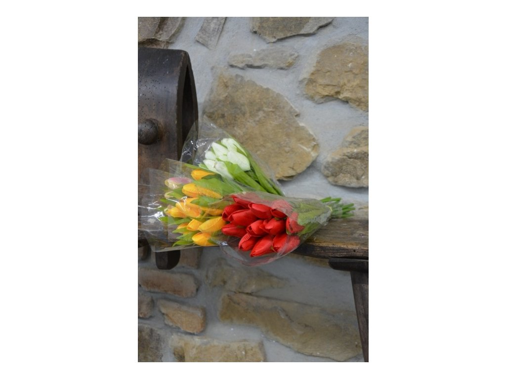 CERINO Umělá květina Tulipán puget 40cm - 12 květů zelenkavá