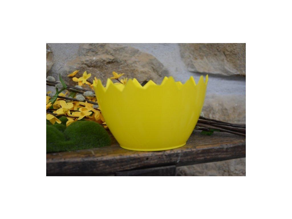 Cerino Květináč plast-obal skořápka 15cm, žlutá