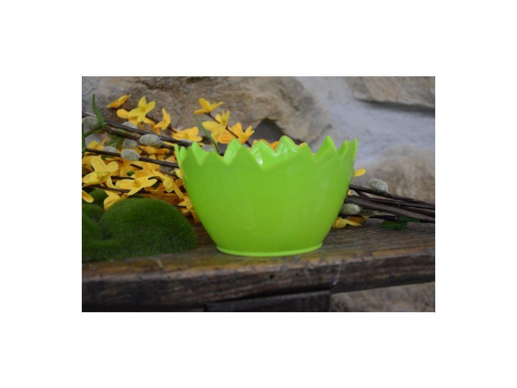Cerino Květináč plast-obal skořápka 15cm, zelená