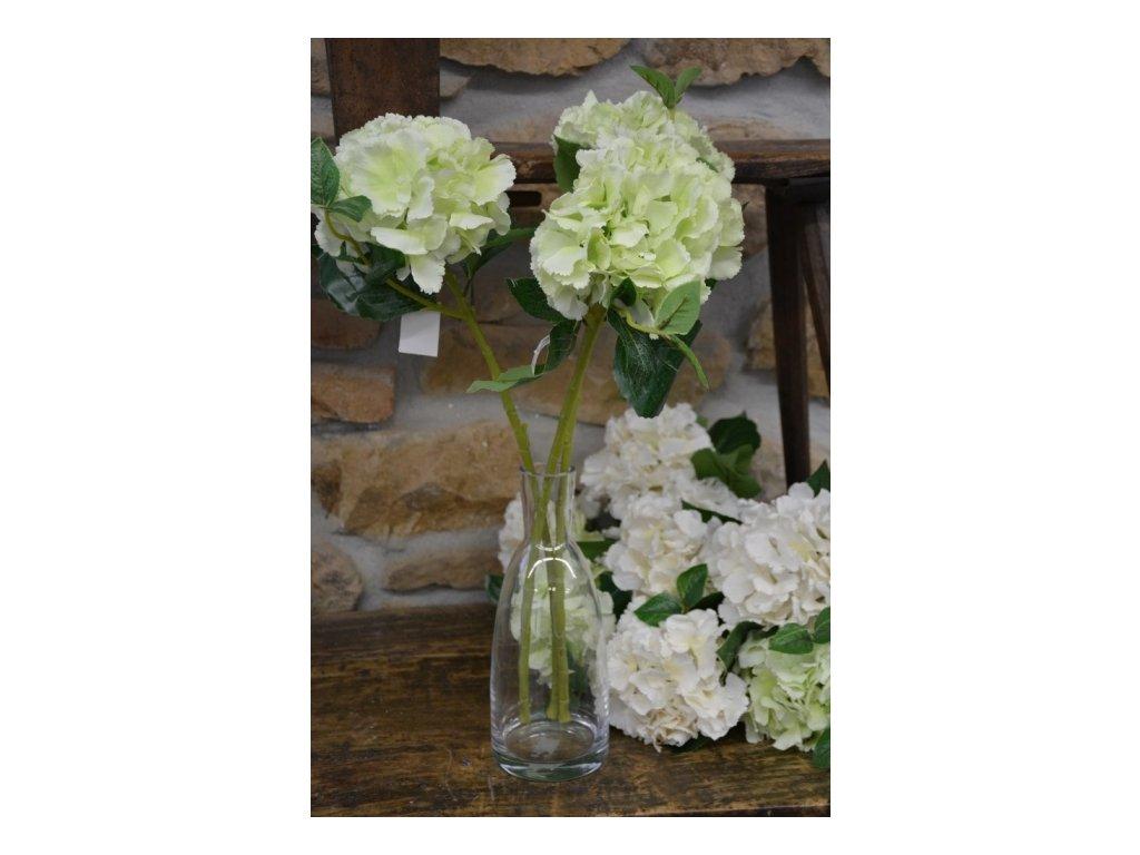 CERINO Umělá květina Hortenzie plnokvětá 65cm zelenkavá 1ks
