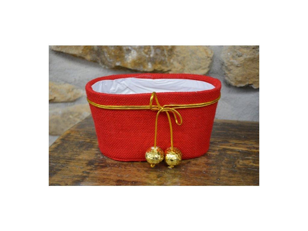 Cerino květináč vánoční juta 27x13x14 červený/zlatý lem