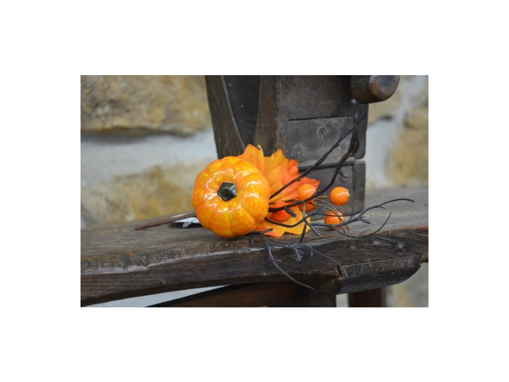 Cerino podzimní větvička dýně délka 30cm