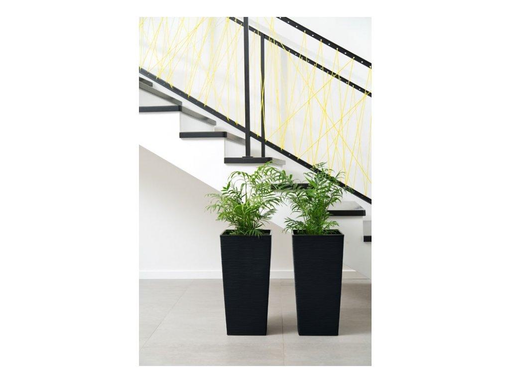 Lamela Květináč Finezia dluto 300x300 výška 57cm černá