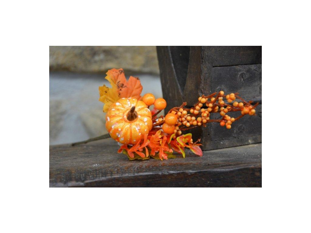 Cerino podzimní větvička Dýně délka 25cm